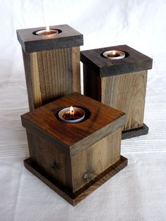 Set of 3 Blue Spruce Candle Holders