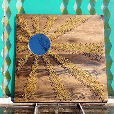 $49 etsy String Art Mirror. Rays of Sunshine on Dark Walnut Stained Wood. by NailedItDesign.etsy.com