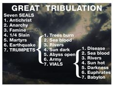 """7 year Great tribulation after Rapture of the church! """"Then there will be great tribulation, such as has not been since the beginning of the world until this time, no, nor ever shall be. And unless those days were shortened, no flesh would be saved; but for the elect's sake those days will be shortened."""" (Matthew 24:20-22) Read more """"What is the Great Tribulation""""? http://www.gotquestions.org/Great-Tribulation.html"""