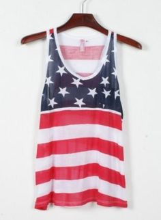 American Flag Print Tank Top for Summer,  Top, American Flag Print Tank Top, Chic