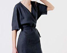 Linen Dress, Charcoal Linen Dress, Linen Kimono Dress, Linen Wrap Dress, Charcoal Grey Dress, Linen Dresses for woman, Linen Summer Dress