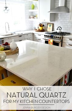 Natural Quartz countertops in the kitchen was a great choice! It's durable, maintenance free, and so stylish. Check out more at www.JennaBurger.com