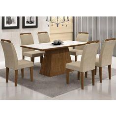 Conjunto Sala de Jantar Mesa Vidro Branco Luna 6 Cadeiras Athenas Ypê/Serigrafado Preto/Suede Creme - Rufato com o melhor preço é no Walmart!