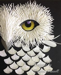 Here is a creative idea for paper sculpture using Dee's Distinctively Dies. Dies  used: IME-133 Duplicity 5, IME-096 Ponderosa Sprig, IME-081 Small Decorations, and IME-079 Floral Leaf Set 4. I rendered the owl eye with Prismacolor Pencils and put glossy accents on top.Designed by Deanna Pannell.