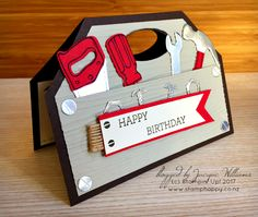 Hamilton Extravaganza Project Parade - stampin up nailed it tool box punch art shaped card masculine - Masculine Birthday Cards, Birthday Cards For Men, Masculine Cards, Diy Birthday, Birthday Ideas, Cute Cards, Diy Cards, Men's Cards, Easel Cards