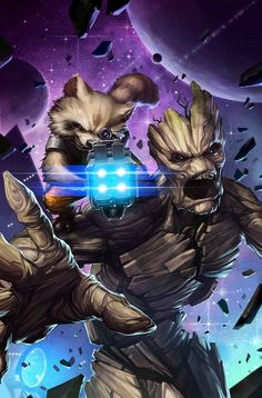 Und wie die rock en!!!....sowas von Rock!The tree-like creature known as Groot was captured by the Kree and put on a team with Star-Lord, Bug, Mantis, and Rocket Raccoon. A tree of few words, Groot formed a bond with the creature known as Rocket Raccoon. Forming the Guardians of the Galaxy, Groot and his best friend Rocket travel through space getting into trouble wherever they go.