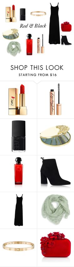 """Red & Black"" by billie-ann-richardson on Polyvore featuring mode, Yves Saint Laurent, Charlotte Tilbury, NARS Cosmetics, Monsoon, Stuart Weitzman, Etro, Alexander McQueen, Cartier et Jimmy Choo"