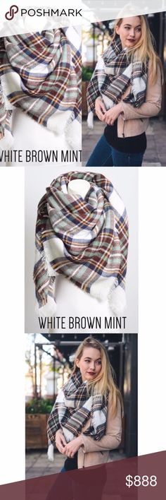 "COMING SOON! Mint & White Blanket Scarf ⭐️COMING SOON⭐️ Beautiful, warm, and large blanket scarf! Super cute & perfect for fall! 60"" x 60"". 100% acrylic. Kyoot Klothing Accessories Scarves & Wraps"