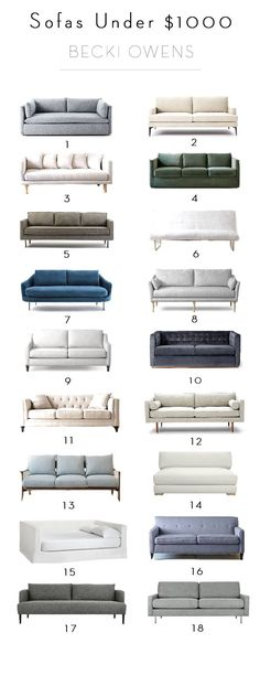Right now there are some great sales on sofas that make updating your furniture affordable. Here are 18 sofas under $1000 is various styles and colors.