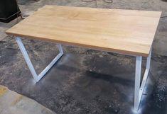 recycled Tasmanian oak desk with white steel legs made by www.recycledtimberfurnitureoz.com