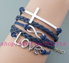 Silver/bronze cross bracelet,infinity bracelet,love bracelet,navy leather navy string.color adjustable,Graduation friendship gift.  by APerfectGifts, $4.99