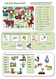 Auf dem Bauernhof German Grammar, German Language, Learn German, Cycle 3, Science, After School, Diy For Kids, Worksheets, Homeschool