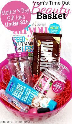 Mothers Day Gift Idea Under $25: Moms Time Out Beauty Basket. magazine, chocolate, candle, face scrub. etc.