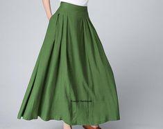 Long skirt, boho skirt, green skirt, linen skirt, skirt with pockets, pleated skirt, summer skirt, skirts for women, casual skirt, gift 1502