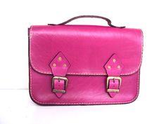 Magenta Pink Leather BagMessenger Bag Tote Bag ipad by ammaciyo, $85.00