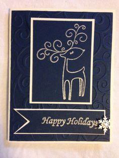 Handmade card, Christmas, happy holidays stamp, blue, deer