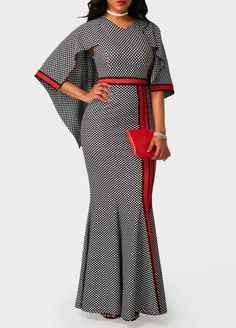 Printed V Neck High Waist Printed Maxi Dress.would look great for a wedding African Print Dresses, African Fashion Dresses, African Attire, African Wear, African Dress, Club Party Dresses, Fashion Prints, Fashion Design, Africa Fashion