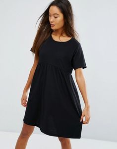 Buy it now. ASOS Ultimate Smock Dress - Black. Dress by ASOS Collection, Soft-touch jersey, Round neck, Empire waist, Smock style, Loose fit � falls loosely over the body, Machine wash, 100% Cotton, Our model wears a UK 8/EU 36/US 4 and is 170cm/ 5'7� tall. ABOUT ASOS COLLECTION Score a wardrobe win no matter the dress code with our ASOS Collection own-label collection. From polished prom to the after party, our London-based design team scour the globe to nail your new-season fashion goal...