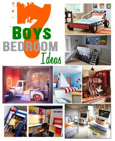 Cool Bedroom Ideas for Boys.  Boys bedrooms don't have to be boring.  This round up features 7 cool boys bedroom ideas.  Cars, Trucks, Lego and more!