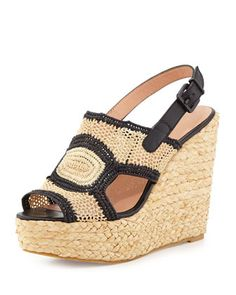 Drastic+Woven+Raffia+Wedge+Sandal,+Natural/Black+by+Robert+Clergerie+at+Bergdorf+Goodman.