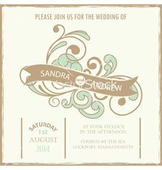 Vintage wedding invitation vector - by ARNICA on VectorStock®