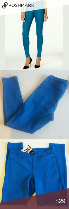 """🆕HUE Sapphire Denim Leggings These versatile leggings are cut to a flattering calf length that looks great with your favorite sneakers or heels! Pull-on style with imitation front pockets, zip fly, and button fastener. Functional back pockets. Approximate inseam: 23"""". Size xs fits numerical size 2. Material: cotton/polyester/spandex. HUE Pants Leggings"""