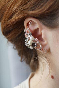 Elven earcuff, fantasy decoration for ear, pearl ear cuff by StoneSongBijouterie on Etsy
