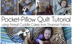 Sewing Tutorial- Pocket-Pillow Cuddle Quilt Tutorial by @PiecesByPolly   -   with Cuddle fabrics - features Cuddle Cakes Adorable Animals http://www.shannonfabrics.com/kits-precuts/precuts/cuddle-cakes-br-adorable-animal, and notions by @fairfieldworld   -   See more information here on My Cuddle Corner- http://shannonfabrics.com/blog/2015/06/08/adorable-animals-cuddle-quilt-with-pocket/
