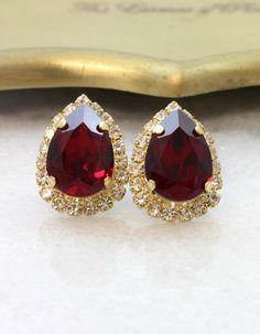 Red Ruby Stud EarringsSwarovski EarringsSwarovski Crystal Bridesmaid Earrings, Bridal Earrings, Wedding Jewelry, Bridesmaids, Garnet Earrings, Red Earrings, Handmade Wedding Jewellery, Swarovski Crystal Earrings, Ruby Red