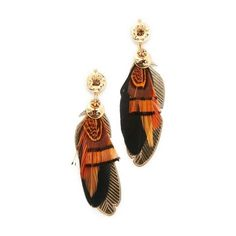 GAS Bijoux SAO Earrings ($115) ❤ liked on Polyvore featuring jewelry, earrings, feather earrings, charm earrings, star jewelry, feather jewelry and gas bijoux