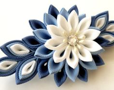 Flores de tela Kanzashi french barrette. Flores clip por JuLVa