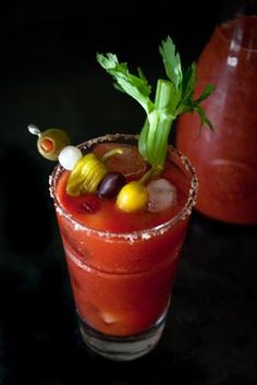 Bloody Mary recipe perfect for brunch parties. Prep the seasoned tomato juice mix and the garnish platter the night before, and stash them in the fridge to chill. Mixed Drinks, Fun Drinks, Yummy Drinks, Alcoholic Drinks, Beverages, Cocktails, Yummy Food, Brunch Party, Easter Brunch