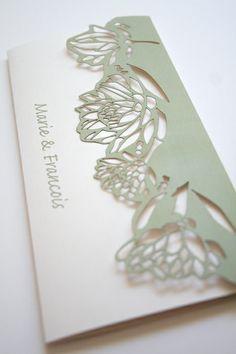 Lasercut Protea Pattern Wedding Invite by Mercia M Designs - Bestpin Simple Wedding Invitations, Wedding Stationary, Wedding Paper, Diy Wedding, Wedding Events, Weddings, Protea Wedding, Wedding Cards Handmade, Invitation Cards