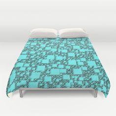 Windy Turquoise Squares Duvet Cover - $99.00  #duvetcover #bedding #bedroom #dorm #turquoise #blue #squares #pattern #geometric #homefurnishings #homedecor