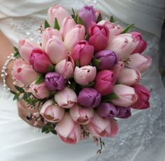 """Tulip wedding bouquets - a simple but sweet bouquet of flowers so adored even Persian poets of long ago dreamed of a garden paradise with """". Bridal Flowers, Flower Bouquet Wedding, Tulips Flowers, Beautiful Flowers, Pink Tulips, Beautiful Bouquets, White Tulips, Flower Garden Pictures, Tulip Wedding"""