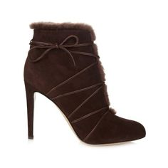 GIANVITO ROSSI Lace-up shearling ankle boots ($1,132) ❤ liked on Polyvore featuring shoes, boots, ankle booties, dark brown, stiletto booties, lace up booties, lace up cut out booties, high heels stilettos and shearling boots