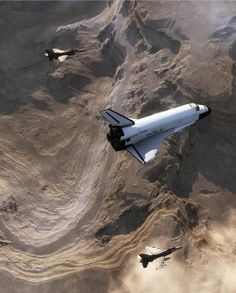 Space Shuttle and F-16 Fighting Falcon