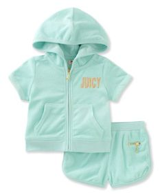 Loving this Mint 'Juicy' Hoodie & Shorts - Toddler & Girls on #zulily! #zulilyfinds