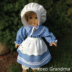 Pioneer Outfit for an American Girl Doll & a tutorial on how to make a doll apron using a linen napkin.