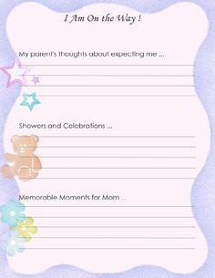 """Free Printable Baby Book Page, """"I am on the Way !"""""""