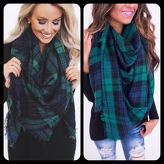 ❗️JUST IN❗️ Green Blue Tartan Blanket Plaid Scarf Gorgeous plaid scarf available in 4 colors! Brand new! The perfect holiday gift. Bundle 2 for $50. Accessories Scarves & Wraps