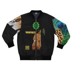 Manifinesse Your Aura Bomber Jacket Print Jacket, Everyday Look, Welt Pocket, Bomber Jacket, Zipper, Unisex, Sweatshirts, Casual, Sweaters