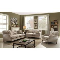 The Alianza collection is an ideal choice for any living room. This traditional sofa set features beige linen upholstery, diamond tufted backrest, english-style arms, and is beautifully complemented by metal Furniture, Sofa, Living Room Collections, Home, 3 Piece Living Room Set, Traditional Sofa, Living Room Sets, Home Decor, Sofa Set