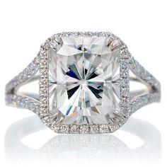 14K White Gold 11x9 Radiant Cut Moissanite Engagement Ring Diamond Halo Split Shank Engagement Wedding Anniversary Right Hand Gemstone Ring on Etsy, $3,680.00