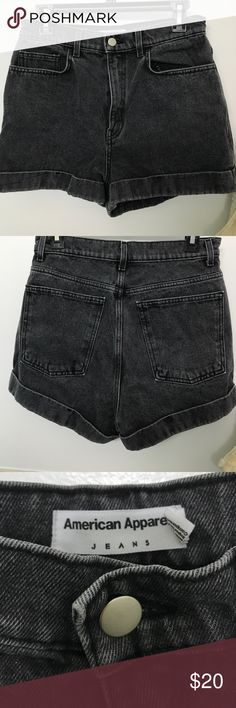 Black High Waisted American Apparel Shorts These American Apparel shorts are very flattering and look great with a crop top. They are very high waisted which makes these shorts very flattering. These are a size 30 which roughly translates to a size 6/8. These shorts are also a great length and the quality of the material is superb. American Apparel Shorts Jean Shorts