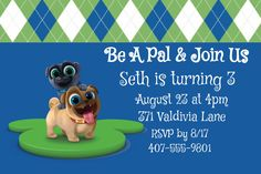 Puppy Dog Pals Invitations , Rolly, Bingo, Disney Junior by TheFestiveChick on Etsy
