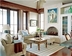 Beach House Style Decorating - color scheme - built-in cabinets - wood floor