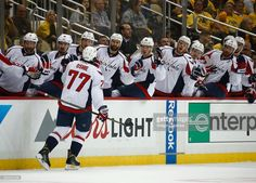 03c109ae8a7 T.J. Oshie  77 of the Washington Capitals reacts after scoring a goal  against the Pittsburgh