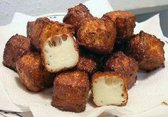 """Photo: This looks so YUMMY!!!!!  DEEP-FRIED CHEESE BITES Thank you... http://genaw.com/lowcarb/deepfried_cheese_bites.html  12 ounce package Wisconsin Farms Frying Cheese or Mexican Frying Cheese  Heat the oil in deep fryer according to the manufacturers instructions. Cut the cheese into 3/4"""" cubes. When the oil is ready, carefully drop a few cubes of cheese into the hot oil. Don't put too many in or they will stick together. I fried 4 cubes at a time and kept moving them around with the ..."""