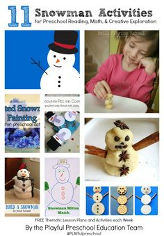 11 Snowman Activities for Preschoolers including 3 Fun & Easy Snowman Vocabulary Activities for Winter Learning with Kids